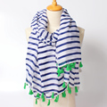 Newest white blue stripe scarf spring autumn Navy Cosplay cape striped scarves sunscreen shawl Classmates gift free shipping