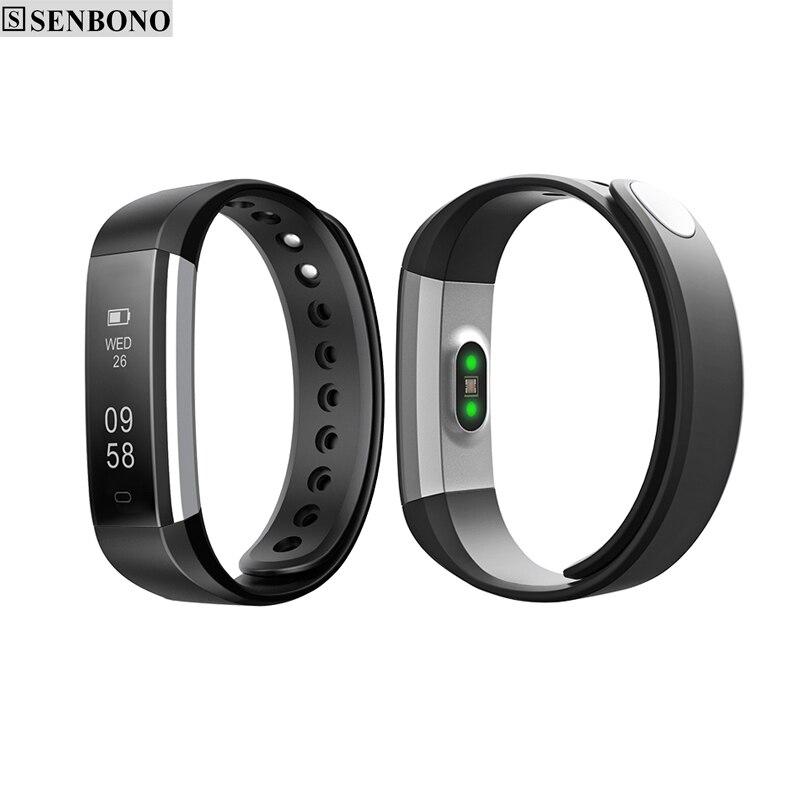 imágenes para Senbono ID115HR IP66 apoyo banda de fitness deporte inteligente rastreador heart rate monitor de sueño pasómetro smartband