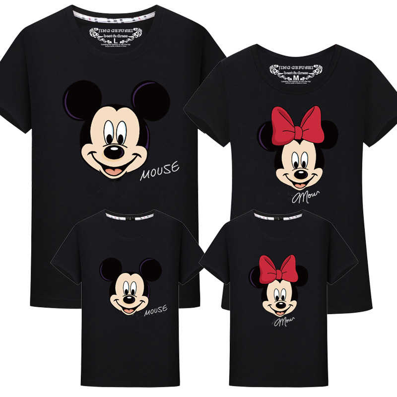 206968ea9 ... Jargazol Family Matching Clothes Cartoon Mickey Minnie Printed T-shirts  Mother and Daughter Tops Dad ...