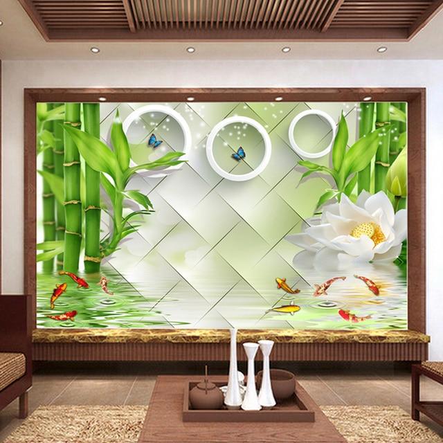 Fototapete Chinesischen Stil Lotus Kreis Bambus Natur Landschaft ...