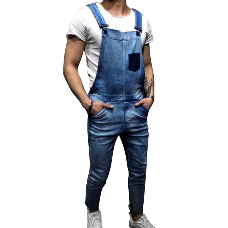 LASPERAL Fashion Mens   Jeans   Jumpsuit Casual Hi Street Distressed Denim Bib Overalls For Man Fashion Patchwork Suspender Pants