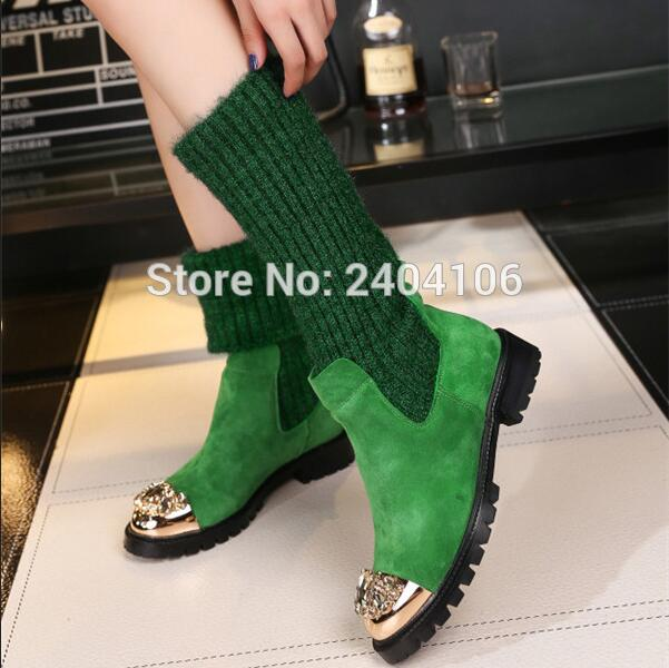 Fashion Luxury Shoes Woman Metal Crystal Toe Flat Snow Boots Casual Slip On Botas Mujer Invierno Knitted Warm Winter Boots Women rumbidzo women boots 2018 fashion woman shoes round toe lace up flat heel winter snow boots women bootie warm botas sapatos