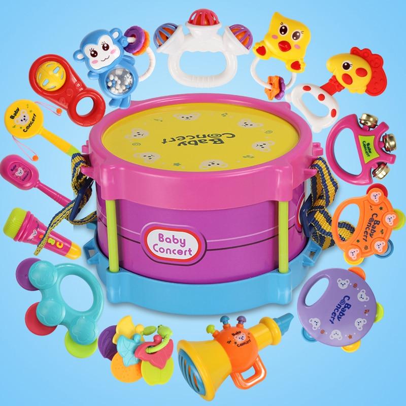 Brinquedos do bebê Para Meninas Mão Bater Bater Chocalhos Educativos Crianças Brinquedos Set Handbells Instrumentos Musicais de Brinquedo Tambour Enfant
