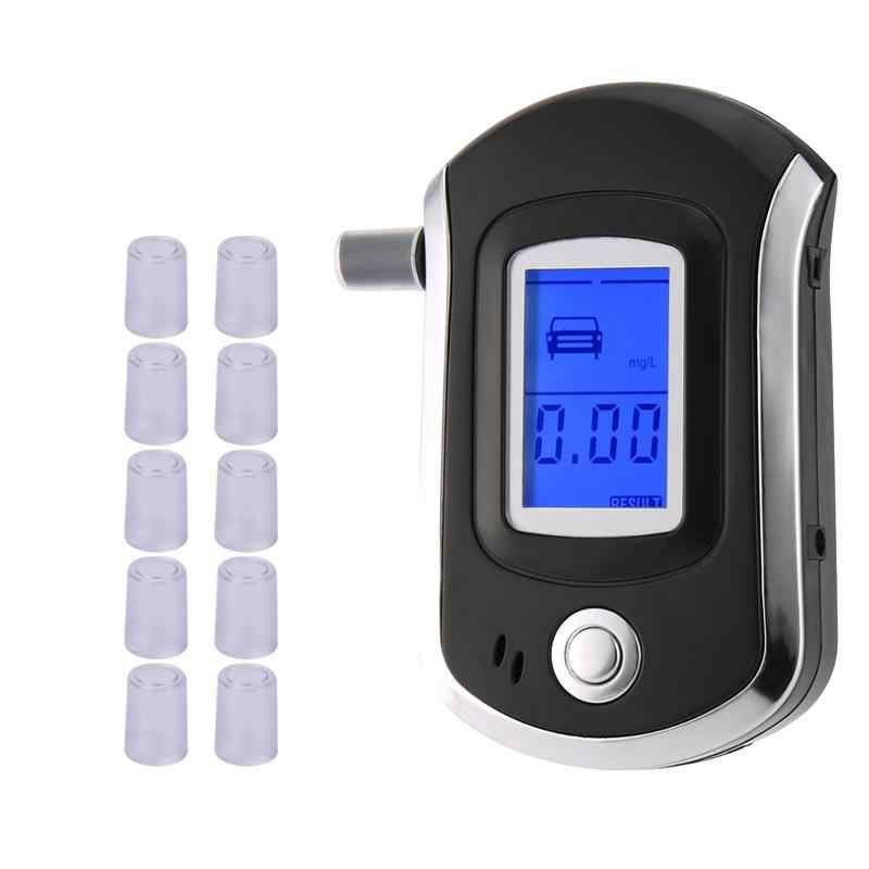 Profissional Digital Breath Alcohol Tester Bafômetro com LCD Dispaly with11 Boquilhas AT6000 Venda Quente dfdf