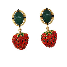 Luxury Crystal Strawberry Drop Earrings Fashion Trendy Tropical Fruit Charming Bijoux For Girl Female
