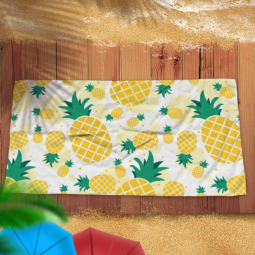 Microfine pineapple Beach Towel Microfiber Fast Drying Oversized Bath Towel Outdoor Swimming Sport Yoga Mat Travel Blanket