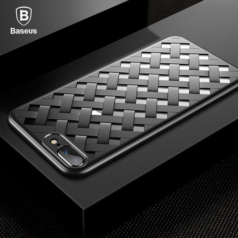 Baseus Luxury Case for iPhone 7 Elegant Weaving Grid Windows Silicone Case For iPhone 7 8 Plus TPU + Plastic Hybrid Phone Cover