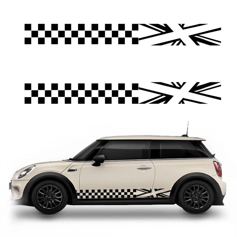 White Car Side Body Decoration Sticker Lattice Decal Waterproof For MINI Cooper
