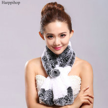 Free shipping rex rabbit fur 2017 autumn and winter scarf small flower hair muffler