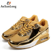 2017 New Breathable Fashion Brand Women's Casual Shoes Autumn Air Classic Shoes Unisex  Trainer Shoes Woman Gold Big Size 35-48