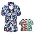 ¡ Caliente! 2017 Nuevos Hombres de la Llegada Camisetas de Primavera y Verano Superior Masculina de Manga Corta Floral Camisa de Los Hombres Tamaño M-XXL