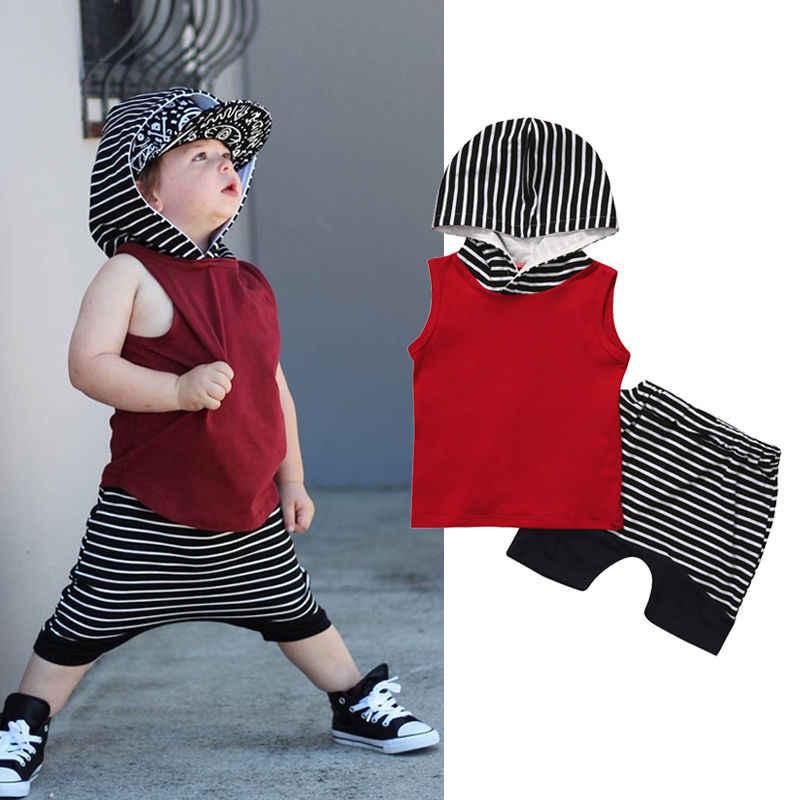 2020 yaz erkek bebek giysileri kolsuz kapşonlu Tops + çizgili şort pantolon 2 adet kıyafetler yürümeye başlayan çocuk giyim seti