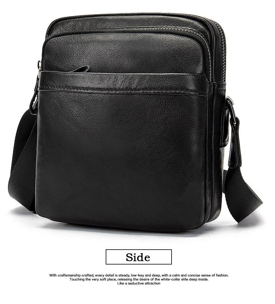 Men's Shoulder Bag for Men Crossbody Bags Genuine Leather Flap Small Male Bussiness Handbags with Zipper Messenger Bag 11