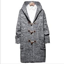b43e65fd7 M-5XL 2019 outono Novo Botão Longa camisola casaco cardigan Com Capuz homens  jaqueta mais fertilizantes 5XL Chifre fivela decora.