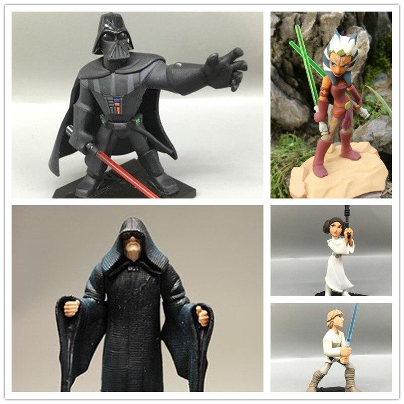 1 unids original Star Wars figura de acción Star Wars Juguetes Darth Vader Luke Skywalker Princesa Leia villano Palpatine Ahsoka Tano