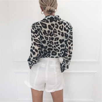 Chiffon Blouse Long Sleeve Sexy Leopard Print Blouse Turn Down Collar Lady Office Shirt Tunic Casual Loose Tops Plus Size Blusas 3