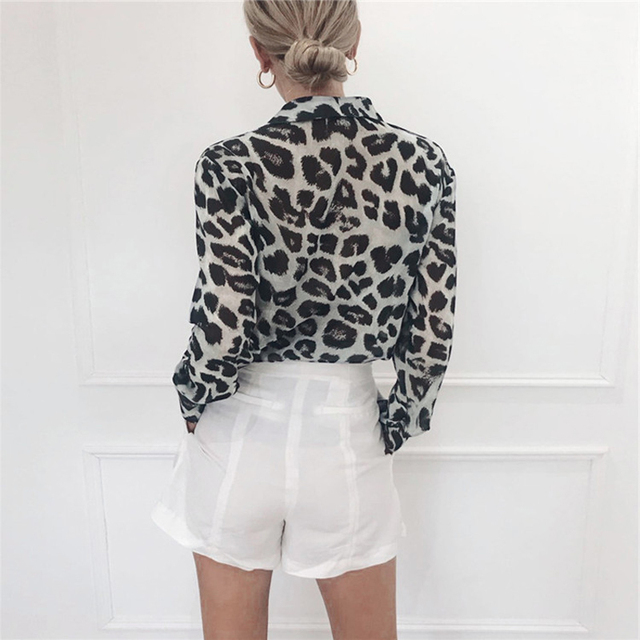 Chiffon Blouse Long Sleeve Sexy Leopard Print Blouse Turn Down Collar Lady Office Shirt Tunic Casual Loose Tops Plus Size Blusas 2