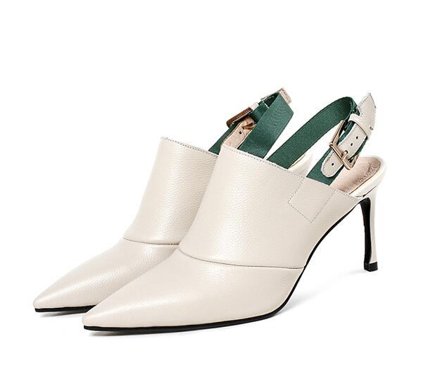En Talons Femmes Bout Pointu Hauts À Glissent noir Bureau De Véritable Dames Sexy Pompes Mode Nouvelle Beige Chaussures 2018 Sur Les Cuir UpPxntnA