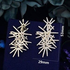Image 5 - Godki fogos de artifício de luxo na moda zircônia cúbica festa de casamento gota brinco moda jóias para mulher