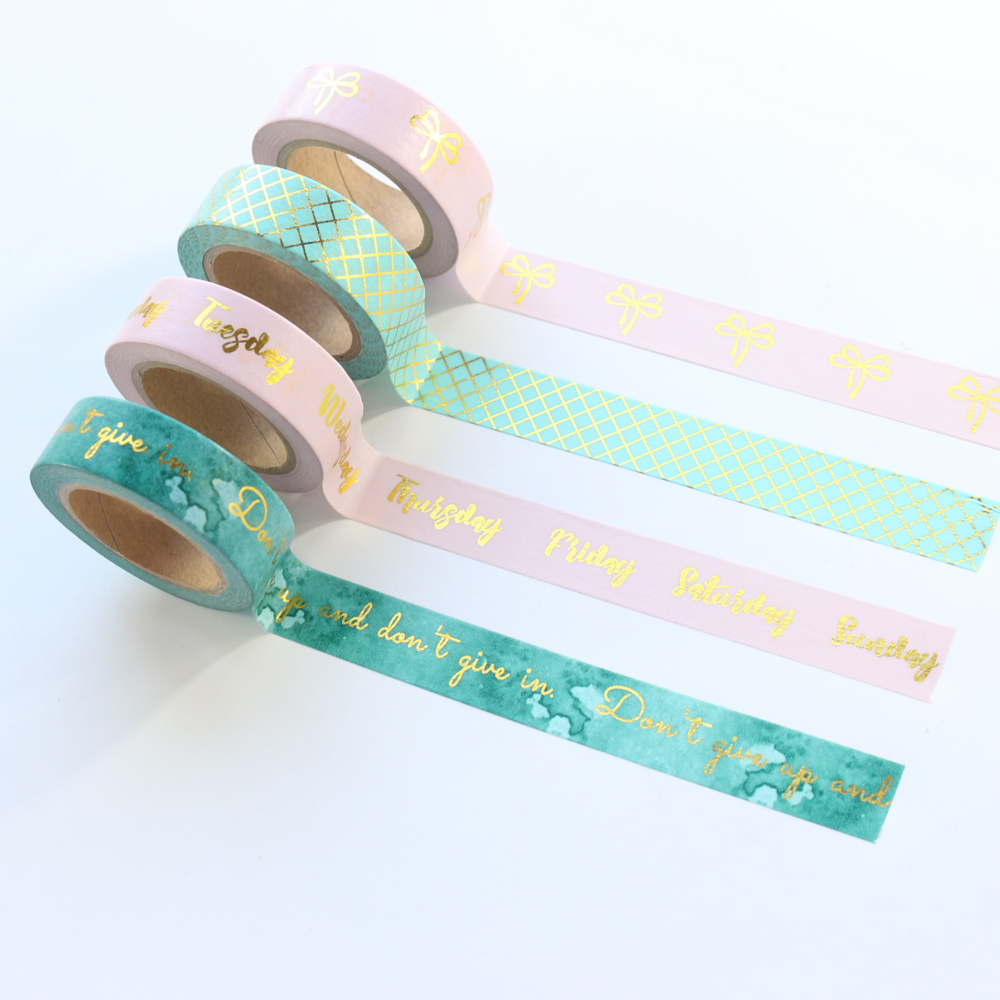 Domikee Cute Gold Foil Student Decoration Washi Tape For Planner Stationery,fine Decorative Masking Tape For DIY Craft Working