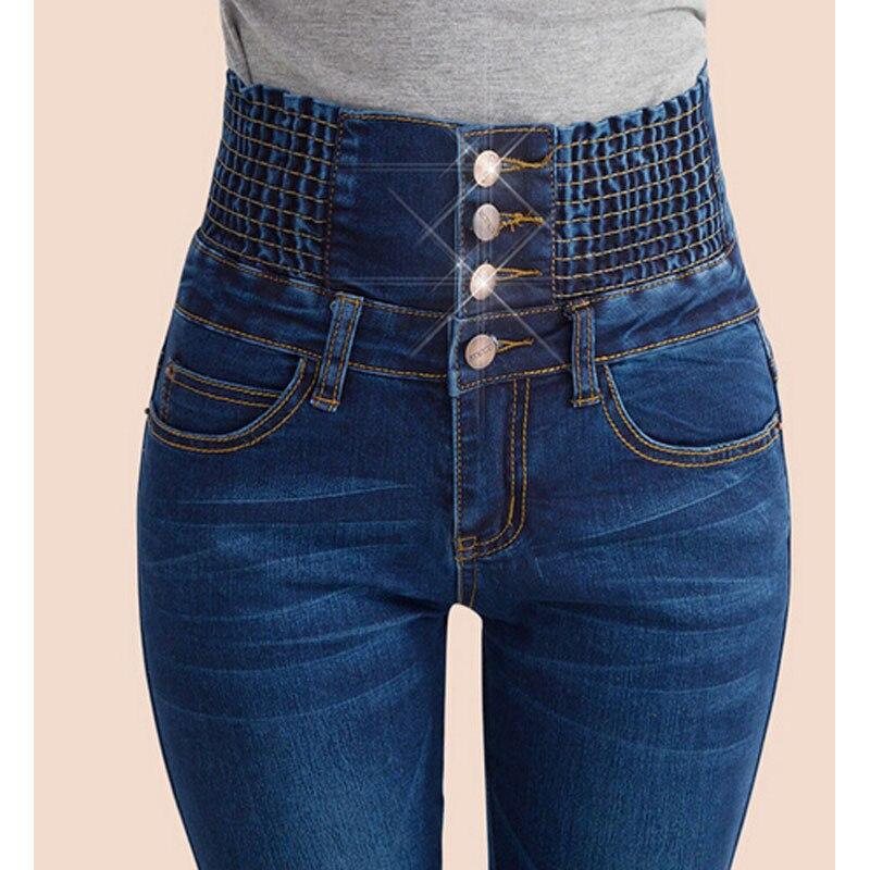 2017 джинсовые штаны модные женские туфли эластичные Высокая Талия Stretch Skinny Jean женские весенние Джинсы для женщин Средства ухода за кожей стоп mujer плюс Размеры