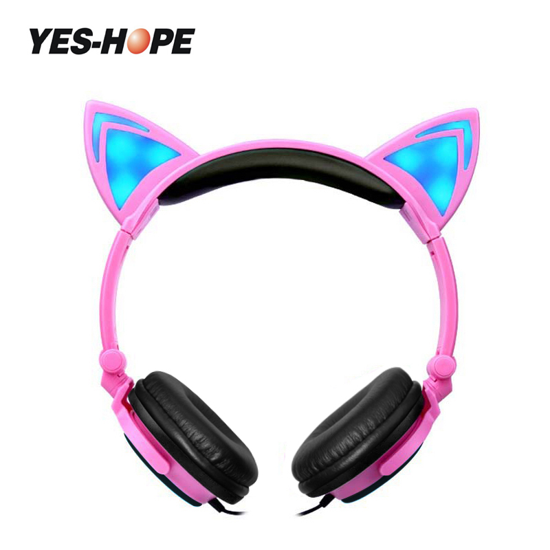 YES-HOPE Halloween gift Foldable Flashing Glowing Cat Ear Headphones Children headphones With LED Light  For PC Mobile Phone foldable cat ear headphones gaming headset earphone with glowing led light for phone computer best halloween gift for girls kids