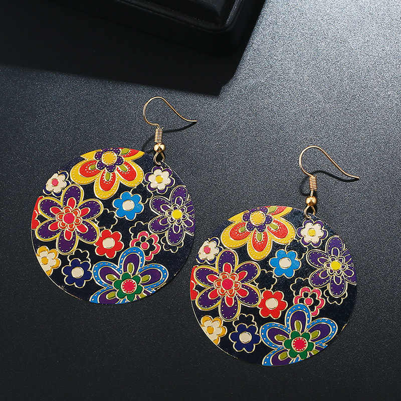JOYME Retro Bohemian Earrings Drop Earrings Enamel Carving Flower Gold Statement Ethnic Jewelry Round Big Earings Women 2018