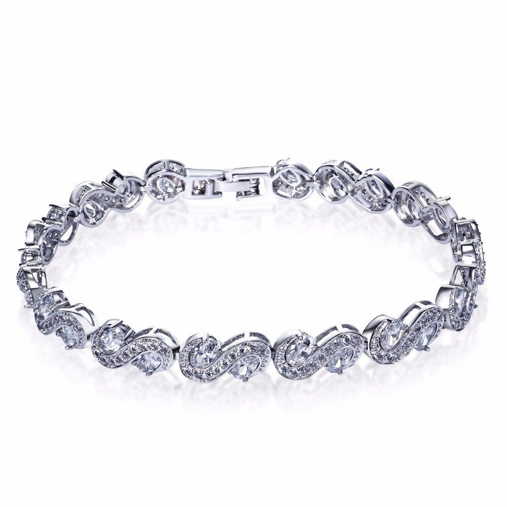 Buyer favourites Jewellery wholesale China Dubai style S shape Cubic zirconia Wedding bracelets for bride