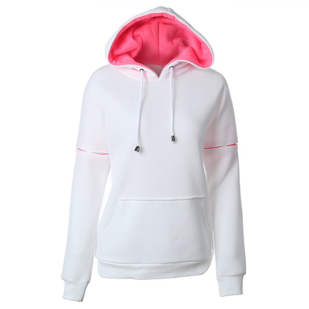 2018 Autumn Hoodie Women Casual Straight Color Block Pocket Hooded Trendy Drawstring New Fashion Street Bape Hoodie Sweatshirts ...