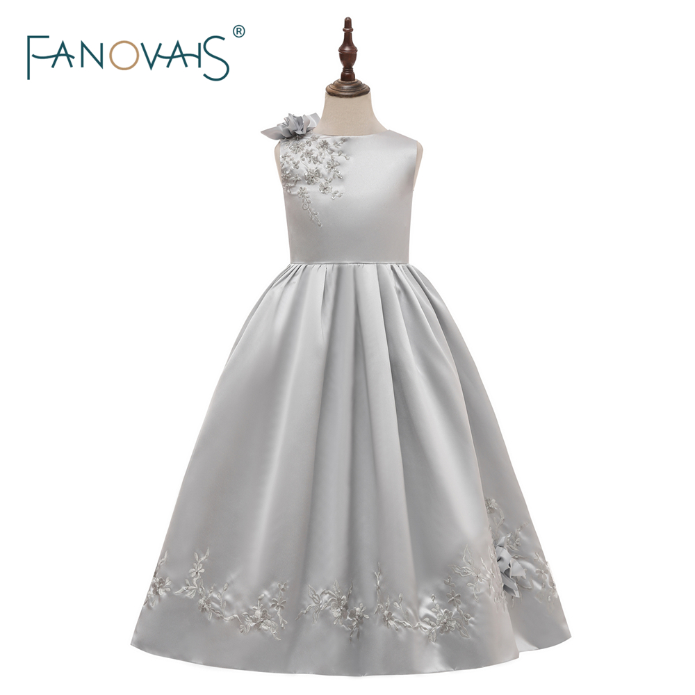 Real Photo   Flower     Girl     Dresses   2018 for Weddings Silver Kids Evening   Dress   Satin Communion   Dresses   For   Girls   Pageant Gowns FL9