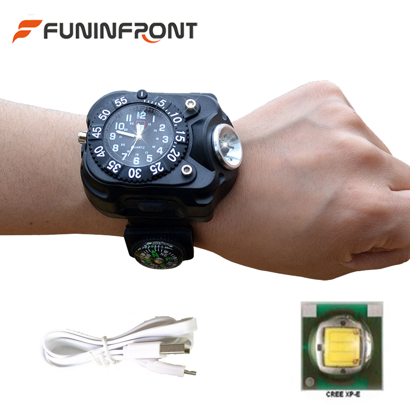 5 Files Micro USB Rechargeable LED Flashlight Wrist Watch, 5W Water Resistant Wrist Lamp Torch with Compass for Outdoor Hike 2017 newest xpe led torch lanterna night outdoor sports wrist watches usb charging watch flashlight with compass usb cable