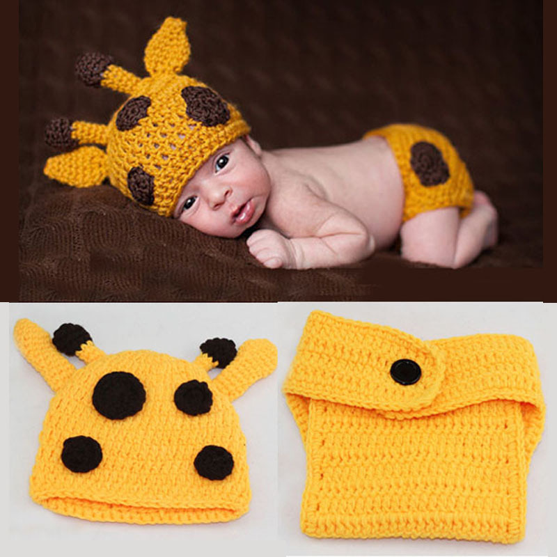 Crochet Deer Style Knit Baby Hat With Short Set Newborn Photogryphy