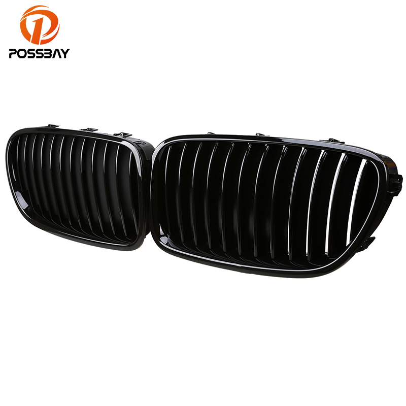 POSSBAY Auto Front Center Kidney Grille for BMW 5 Series F11 525dX/528i/528iX/530d/535d Touring 2010 2016 Gloss Black Car Grills