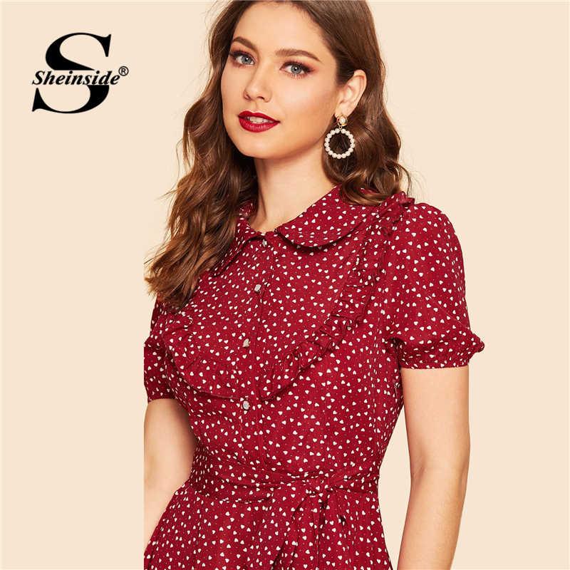 Sheinside Бордовое платье-рубашка с оборками и принтом в виде сердца с поясом винтажные женские летние платья 2019 женское платье с воротником «Питер Пэн»