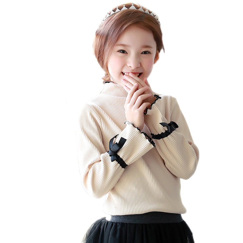 children tshirt 2018 new spring kids clothes solid flare long sleeve girl tshirt cotton turtleneck toddler girls tops pullover