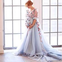 Новое официальное вечернее платье для беременной с v-образным вырезом с аппликацией для беременных, платья для выпускного вечера с длинным шлейфом, вечерние платья для беременных женщин