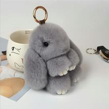 SMJEL 2017 15CM Rex Fluffy Bunny Pendant Keychain Bag Women Toy Rabbit Fur Pom poms Car Keychain Jewelry Gift