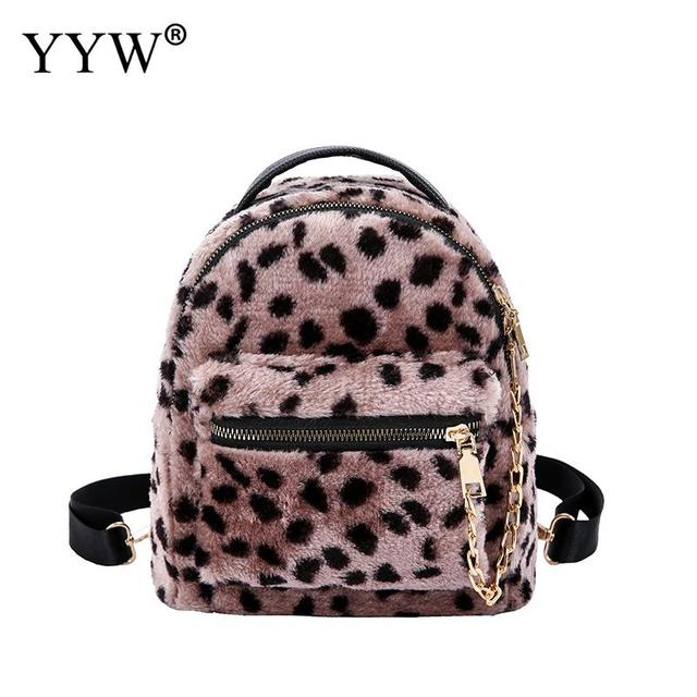 079a2338c8f9 Leopard Print Small Hairy Backpack For Women 2018 Mini Backpack Kids Fashion  Back Pack Travel Pu