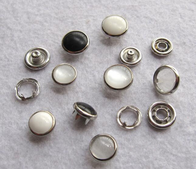 DIY 100sets/lot 10/12/15mm 4 part buttons white pearl prong snap button fastener