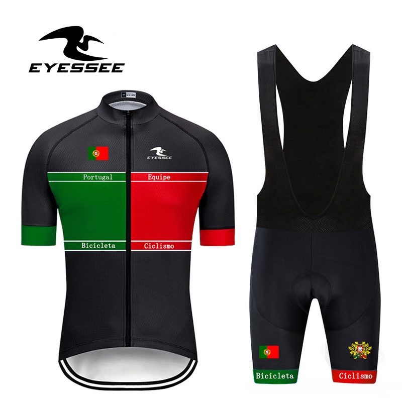 EYESSEE 2019 Tour Of Portugal Cycling Jersey Set /Summer Pro Bicicleta Team Breathable Riding Short Sleeve Bicycle Clothing