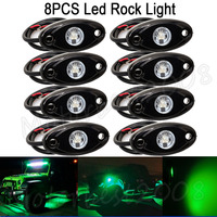 8pcs LED Rock Light Lamp 12V 24V 4x4 Under Wheel Body SUV ATV Boat Trail Rig Car Decorative Light ATV Amber White Green Red Blue