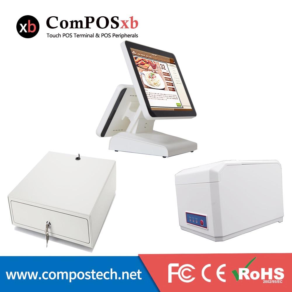 Дешевые кассир машина кассовый аппарат 15 дюймов touch все в одном ПК с 80 мм принтер/денежный ящик