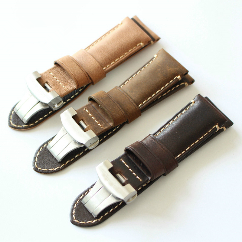 TJP 24mm Brown Khaki Genuine Italy Calf leather Retro Watch Bands Strap Replace PAM Bracelet With Original Buckle tjp handmade 20mm 22mm 24mm retro vintage brown black python skin leather strap bracelet for pam sub mariner pilot watch bands