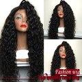 2015 venda quente lado encaracolado perucas de cabelo sintético frente peruca encaracolado sem cola peruca frente para as mulheres negras