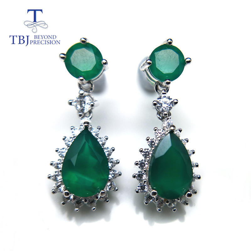 TBJ,Popular Genuine earring with natural green agate in 925 sterling silver excellent jewelry for women mom lady daily wear gift wwd women s wear daily 2012 11 26