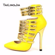 цены Fashion Yellow Hollow Boots Spring Fall Women Sexy Pumps High Heels Shoes Pointed Toe With Bukle Ladies Pumps Big Size Wholesale