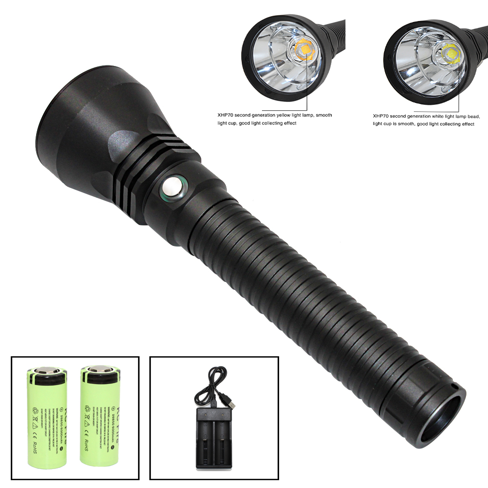Super Brightness XHP70 2 LED Yellow Light 4000 Lumens Diving Flashlight Tactical 26650 Torch Underwater 100M
