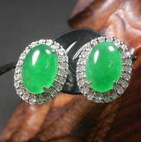 Shipping >>>> new hot Gold Plate Icy Green JADE Earring Cabochon Diamond (Imitation) 272143