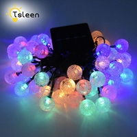 TSLEEN 7M 50led Crystal Ball String Lights Solar Powered Waterproof for Indoor Outdoor Light Decoration for Garden,Party,Wedding