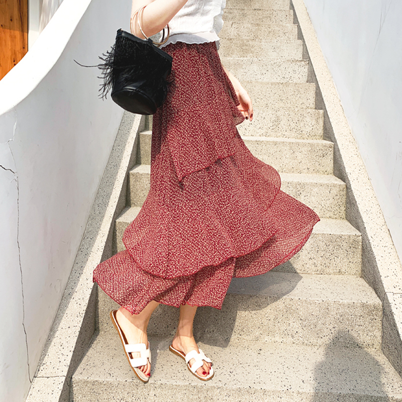 Elegant Floral Print Ruffles Women Skirt Vintage Elastic Waist Chiffon A-line Female Skirt 2019 Party Long Skirts Femme